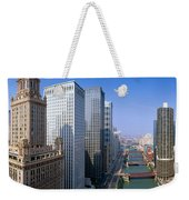 Chicago River, Aerial Shot, Illinois Weekender Tote Bag