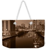 Chicago River B And W Weekender Tote Bag