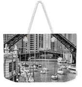 Chicago River Boat Migration In Black And White Weekender Tote Bag