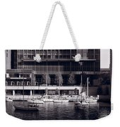 Chicago River Boats Bw Weekender Tote Bag
