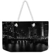 Chicago River Night Skyline Weekender Tote Bag