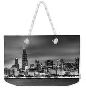 Chicago Skyline At Night Black And White Weekender Tote Bag