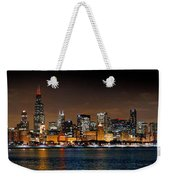 Chicago Skyline At Night Extra Wide Panorama Weekender Tote Bag
