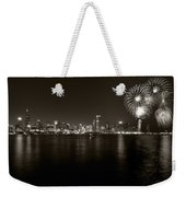 Chicago Skyline Fireworks Bw Weekender Tote Bag by Steve Gadomski