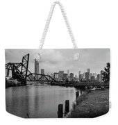 Chicago Skyline From The Southside In Black And White Weekender Tote Bag