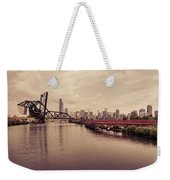 Chicago Skyline From The Southside With Red Bridge Weekender Tote Bag
