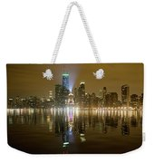 Chicago Skyline With Lindbergh Beacon On Palmolive Building Weekender Tote Bag