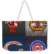 Chicago Sports Fan Recycled Vintage Illinois License Plate Art Bulls Blackhawks Bears And Cubs Weekender Tote Bag