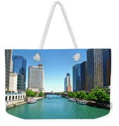 Chicago Tour Boats Parked On The River Weekender Tote Bag