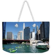 Chicago Watching The Kayaks On The River Weekender Tote Bag