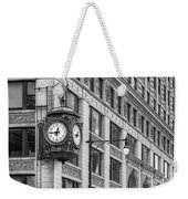 Chicago's Father Time Clock Bw Weekender Tote Bag