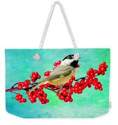 Chickadee And Winterberry Weekender Tote Bag