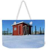 Chicken Coop In Snow Covered Field Weekender Tote Bag