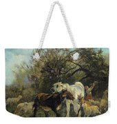 Child And Sheep In The Country Weekender Tote Bag