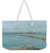 Child Playing At Provence Beach Weekender Tote Bag
