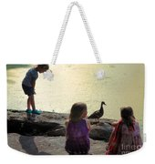 Children At The Pond 1 Weekender Tote Bag