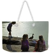 Children At The Pond 1 Version 2 Weekender Tote Bag