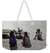 Children At The Pond 2 Weekender Tote Bag