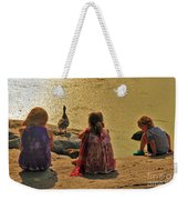 Children At The Pond 4 Weekender Tote Bag
