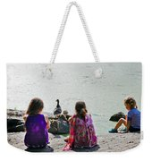 Children At The Pond Triptych Weekender Tote Bag