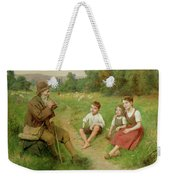 Children Listen To A Shepherd Playing A Flute Weekender Tote Bag