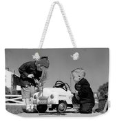 Children Play At Repairing Toy Car Weekender Tote Bag