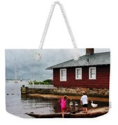 Children Playing At Harbor Essex Ct Weekender Tote Bag