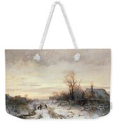 Children Playing In A Winter Landscape Weekender Tote Bag