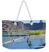 Children Playing In Dierkes Lake In Snake River Above Shoshone Falls Near Twin Falls-idaho  Weekender Tote Bag