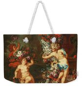 Children Playing With Flowers Weekender Tote Bag