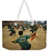 Children Practice Kung Fu In A Field Weekender Tote Bag