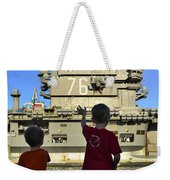Children Wave As Uss Ronald Reagan Weekender Tote Bag