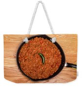 Chili In Black Pan On Wood Table With Jalapeno Pepper Weekender Tote Bag