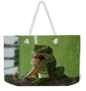 Chilling On Wood Weekender Tote Bag