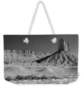 Chimney Rock In Black And White - Towaoc Colorado Weekender Tote Bag
