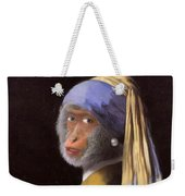 Chimp With A Pearl Earring Weekender Tote Bag