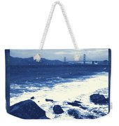 China Beach And Golden Gate Bridge With Blue Tones Weekender Tote Bag