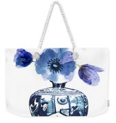 China Blue Vase  With Poppy Flower Weekender Tote Bag