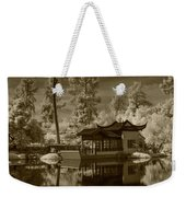 Chinese Botanical Garden In California With Koi Fish In Sepia Tone Weekender Tote Bag