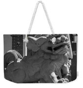 Chinese Guardian Male Lion B W Weekender Tote Bag