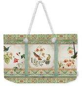 Triptych - Chinoiserie Vintage Hummingbirds N Flowers Weekender Tote Bag