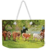 Chisholm Trail Texas Longhorn Cattle Drive Oil Painting By Kmcelwaine Weekender Tote Bag