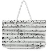 Chorus Of Shepherds, Handwritten Score Of The Opera Ascanio In Alba Weekender Tote Bag
