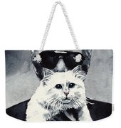 Choupette Cat And Karl Lagerfeld Weekender Tote Bag by Laura Row