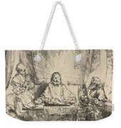 Christ At Emmaus: The Larger Plate Weekender Tote Bag