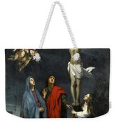 Christ On The Cross With Saint John And Mary Magdalene Weekender Tote Bag