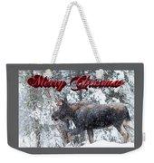 Christmas Bull Moose Weekender Tote Bag