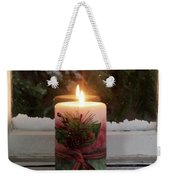 Christmas Candle Glowing On Window Sill With Snowy Evergreen Bra Weekender Tote Bag