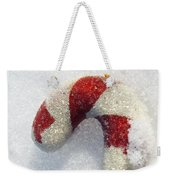 Christmas Candy Cane On Real Snow Weekender Tote Bag
