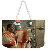 Christmas Celebration At Nativity Church Weekender Tote Bag